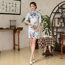 Jin'e Imitate Real Silk 2016 Pattern Summer Daily Self-cultivation Short Fund Cheongsam Skirt Wholesale Direct Selling
