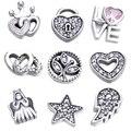 Небесная Любовь Семья Навсегда Сердце Новогоднее Чудо Petites Fit Pandora Плавающей Медальон Ожерелье Мода Серебро 925 Бижутерия