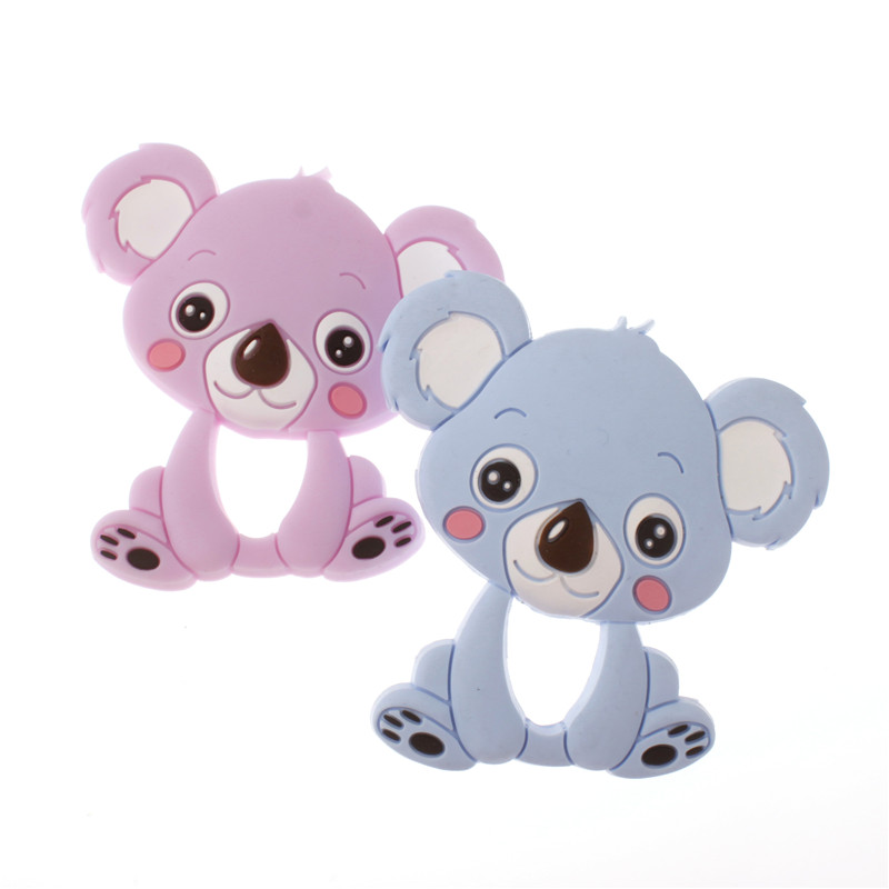 10PCS Silicone Cartoon Koala Bear Teether Pendant Bpa Free Silicone Teething Necklace Food Grade Christmas Decorations