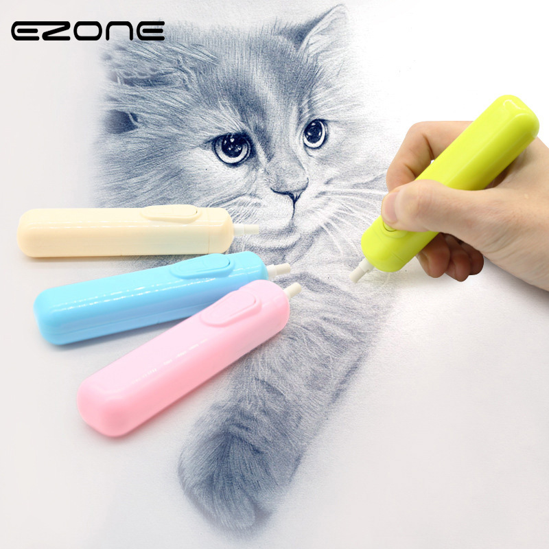 EZONE 1PC Electric Erase Sketch Special Eraser Few Dandruff Writing Drawing Pencil Eraser Automatic Rubber School Supplies Gift