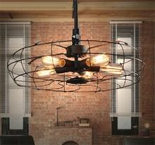 American Countryside Vinage Loft Pendant Lights Industrial Edison Bulb Lamp Coffee Bar Restaurant Kitchen Iron Fan Light Fixture