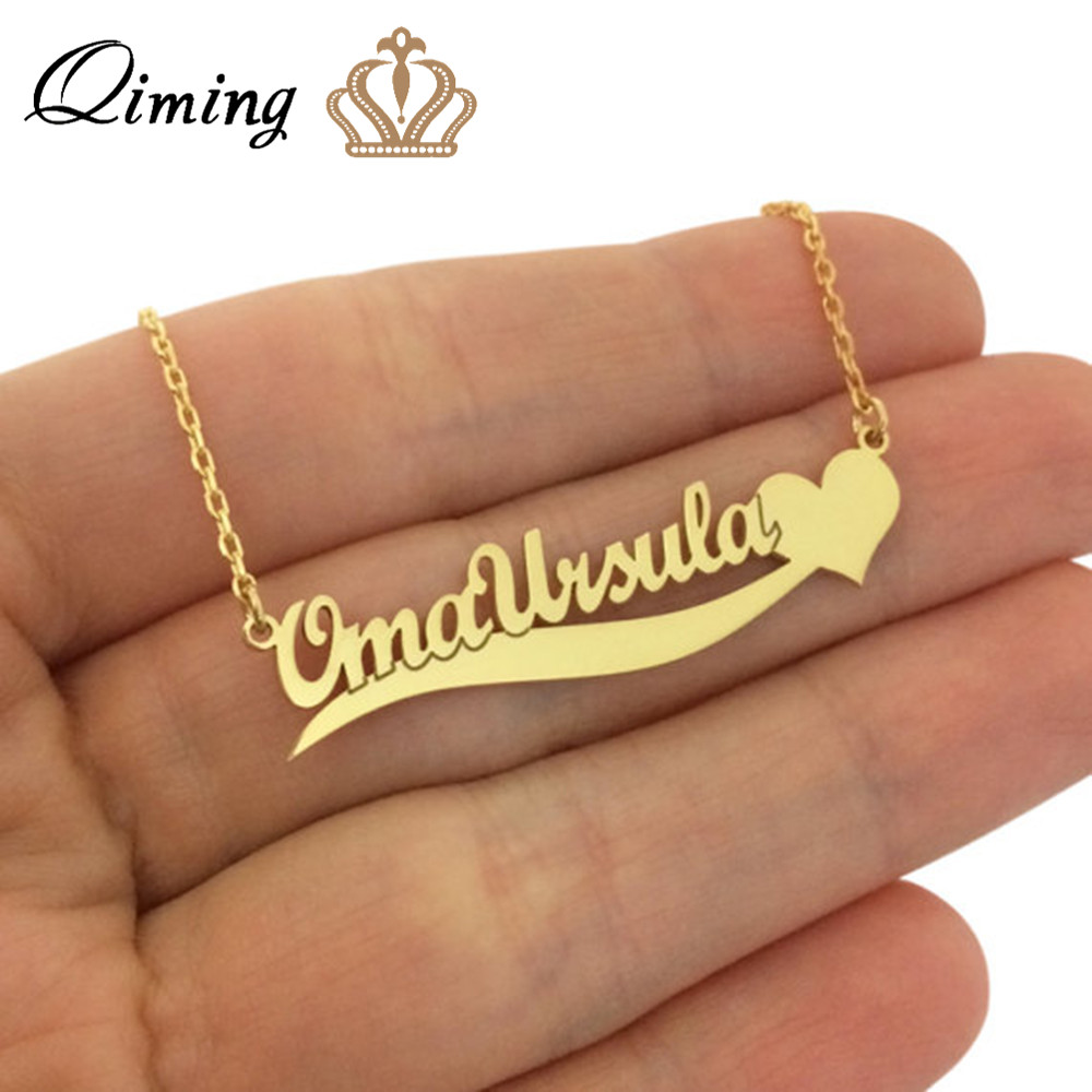 QIMING Love Heart Custom Jewelry Pendant Name Design Metal Ladies Necklace Boho Korean Jewelry Gold Nameplate Necklaces
