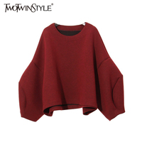 TWOTWINSTYLE 2016 Autumn Space Cotton Material Lantern Sleeves Big Loose PulloversWomens Sweatshirt New Fashion Clothing