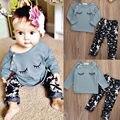 Trajes Ropa del niño del Cabrito de los Bebés Ropa Fijada Otoño Camiseta Tops de Manga Larga + Pants 2 UNID Set Baby Girl traje