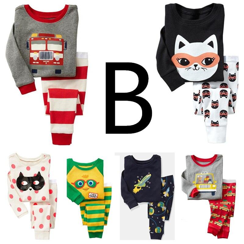 TT B group 6sets lot Children boys girls pajamas 100 cotton Rib long sleeve sleepwear clothing
