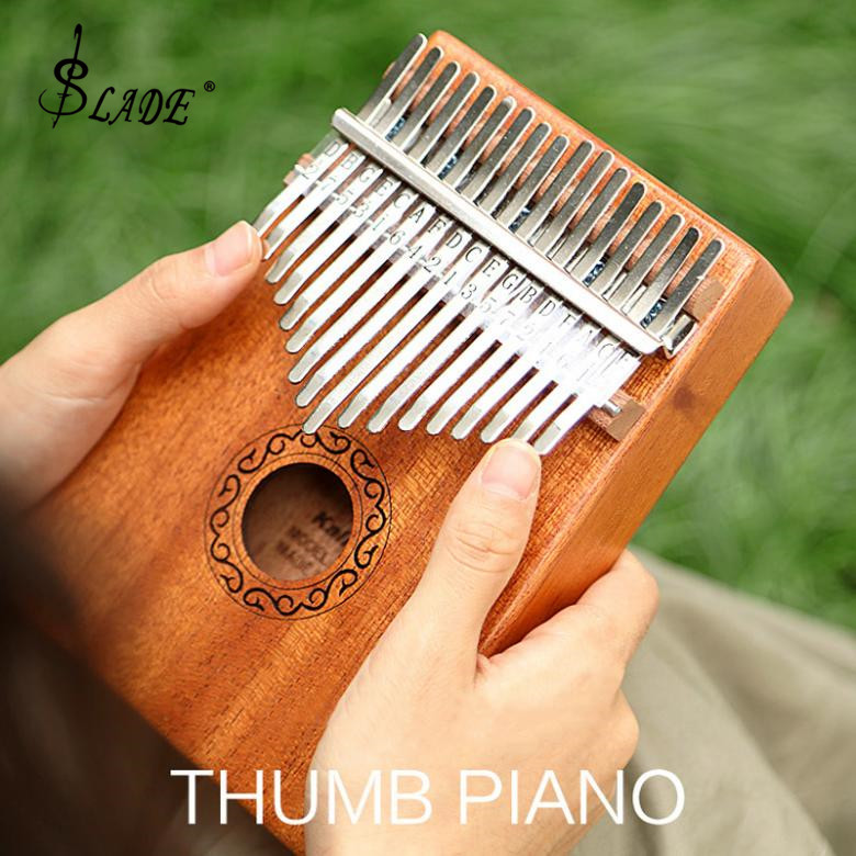 Instrumento com Acessórios Slade Chave Eletroacústica Kalimba Placa Única Mogno Polegar Piano Mbira Mini Teclado Completos 17