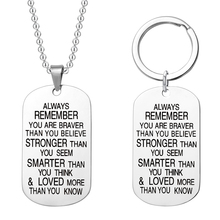 Silver Black Tag Pendant Necklace Always Remember You Are Braver Than Believe Stronger Seem Smarter Keychain