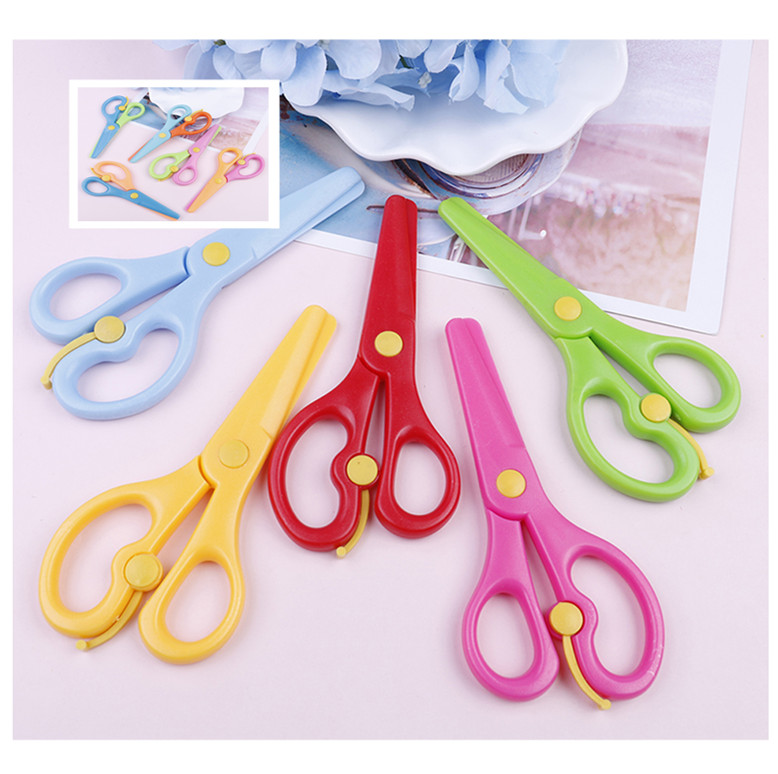 Office & School Supplies Cute Mini Safety Round Head Plastic Scissors Student Kids Paper Cutting Minions Supplies For Kindergarten School Cutting Supplies