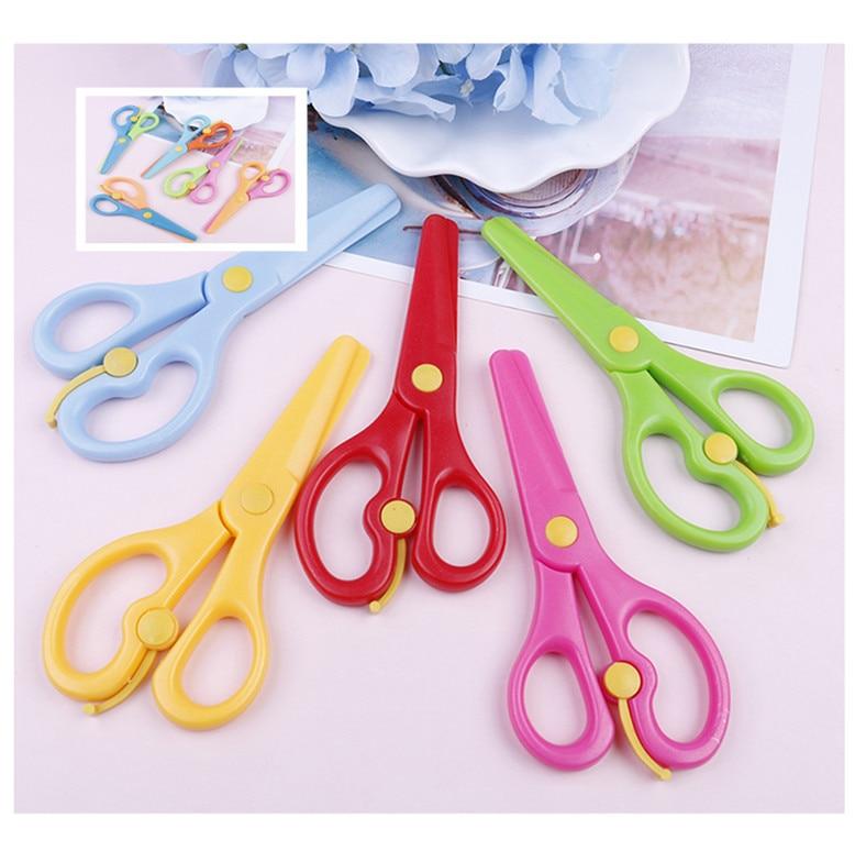 Cute Mini Safety Round Head Plastic Scissors Student Kids Paper Cutting Minions Supplies For Kindergarten School