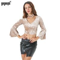 Gagaopt 2017 Autumn Women Velvet Flare Sleeve Collar Crop Top T Shirt V Neck Ladies Slim