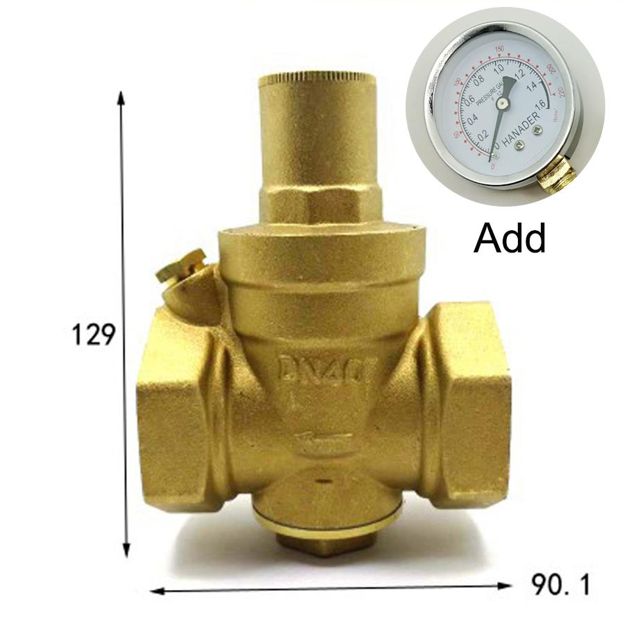 DN40 1-1/2 BSPP Female Brass Pressure Relief Vavle Safety Adjustable Mid-Body Width 90.1mm Max 16Bar With Pressure GaugeDN40 1-1/2 BSPP Female Brass Pressure Relief Vavle Safety Adjustable Mid-Body Width 90.1mm Max 16Bar With Pressure Gauge