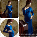 Hat+dress for Pregnant women Photography Maternity Elastic cloth long Dress Pregnancy Fancy Photo Props Baby Shower Gift Studio