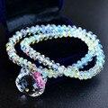 Hecho A Mano puro Auténtico Lujo 925 Austria Crystal Charm Hello Kitty Pulseras y Brazaletes Para Las Mujeres Joyería de La Muchacha