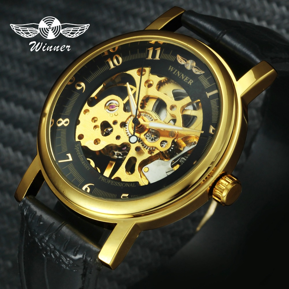 WINNER Official Brand Luxury Unisex Skeleton Mechanical Watch Leather Strap Simple Design Arabic Number Fashion Dress Wristwatch