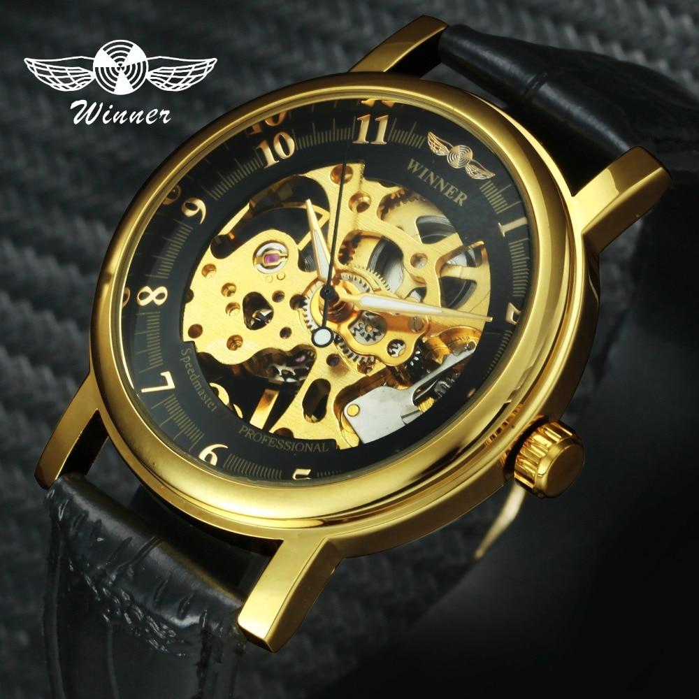 WINNER Official Brand Luxury Unisex Skeleton Mechanical Watch Leather Strap Simple Design Arabic Number Fashion Dress Wristwatch