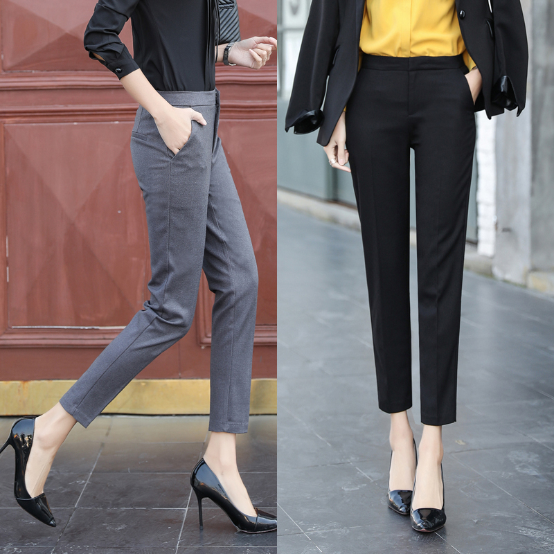 Straight Pants Office gray Black Summer Ol Loose Female New Suit Spring Trousers Mid Elegant 2019 Waist Women's 8n7TFI1Tx