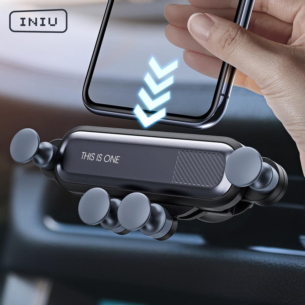 Soporte de coche de gravedad INIU para teléfono en clip para salida de aire de coche soporte No magnético para teléfono móvil soporte GPS para iPhone XS MAX Xiaomi