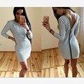 Nuevas mujeres del vestido 2016 moda llena de la manga de la raya del o-cuello Casual Summer Vestidos tallas grandes sin espalda con cremallera Mini atractivo de la envoltura Vestidos