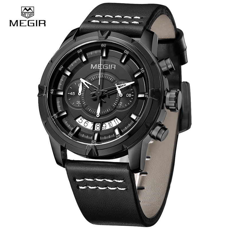 Men Luxury Military Quartz Analog Watches MEGIR Fashion Waterproof Chronograph Outdoor Sport Wrist Watch Clock New 2018 new wwoor luxury brand quartz watches men analog chronograph clock men sports military stainless steel fashion wrist watch