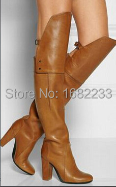 Thigh High Brown Leather Boots - Boot 2017