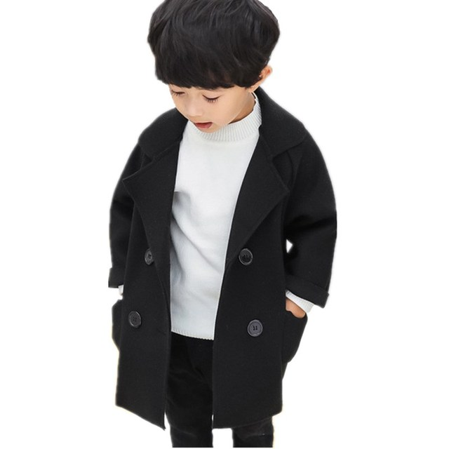 2018 6M-5T Long Windbreaker Girls Coat Children Overcoat Wool Autumn Winter Boys Jackets Baby Coats Girls Outerwear Kids Clothes