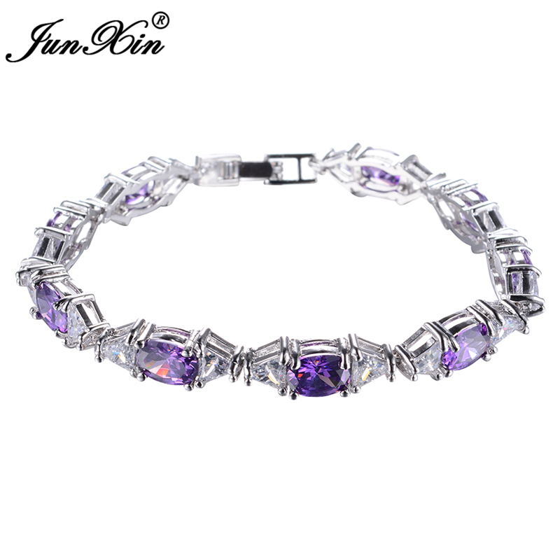 JUNXIN New Bohemia Women Purple Bracelet White Gold ...
