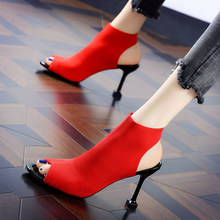 2019 Summer Pumps Stretch knitting Women's Shoes Hollow Out Lady Sandals 8CM High Heels Sexy Peep Toe Woman Sandal chunky heels rivet peep toe chunky heels
