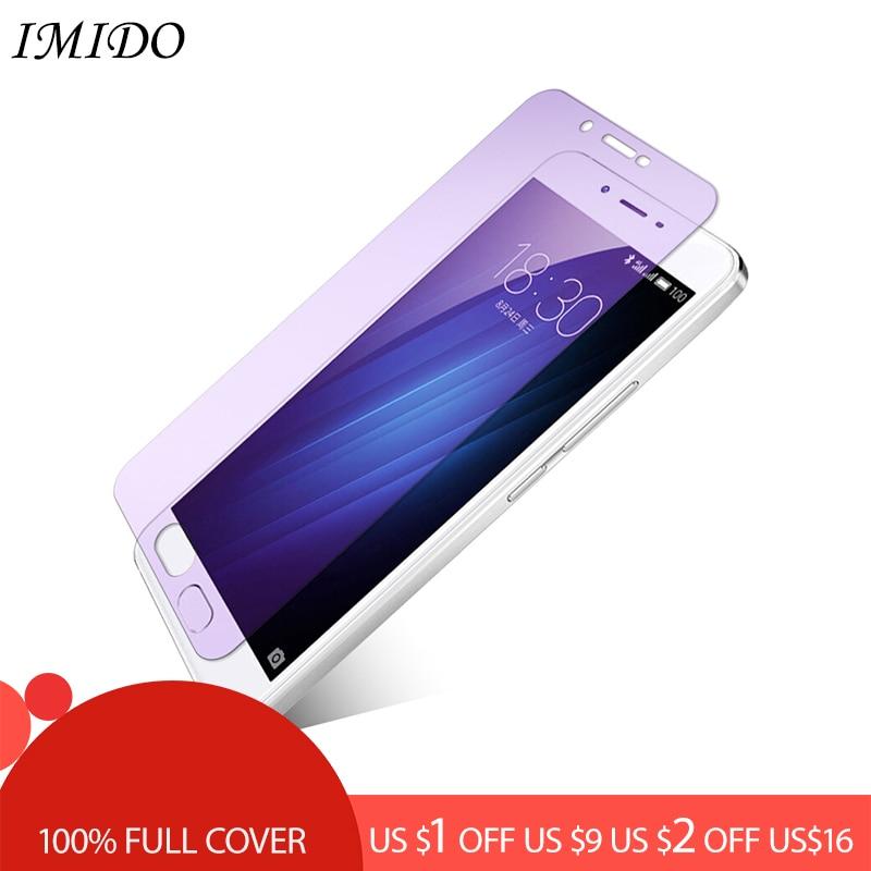 IMIDO Full Cover Anti Blue Tempered Glass for Meizu U10 U20 E E2 E3 Screen Protector X8 V8 A5 Blue-ray