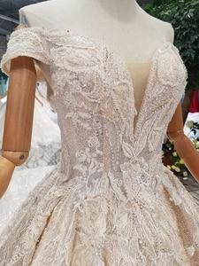Image 4 - LSS083 מבריק תחרה בלינג חתונה שמלות כבוי כתף מתוקה ארוכה רכבת vestido דה novia para ודהה אזרחי קורטו