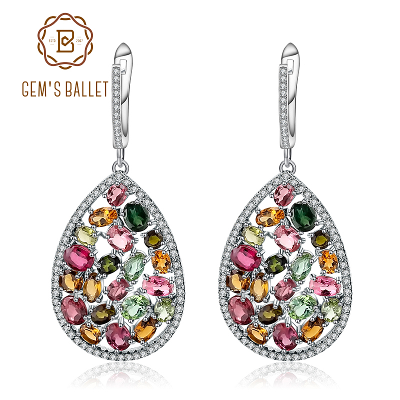 Gem s Ballet 925 Sterling Silver Earrings 10 95Ct Colorful Natural Tourmaline Gemstone Drop Earrings For