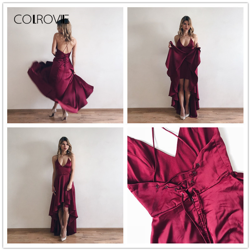 Image 5 - COLROVIE Party Dress Deep V Neck Spaghetti Strap Sleeveless Maxi Dress Asymmetrical Crisscross Backless High Low Cami Dress-in Dresses from Women's Clothing