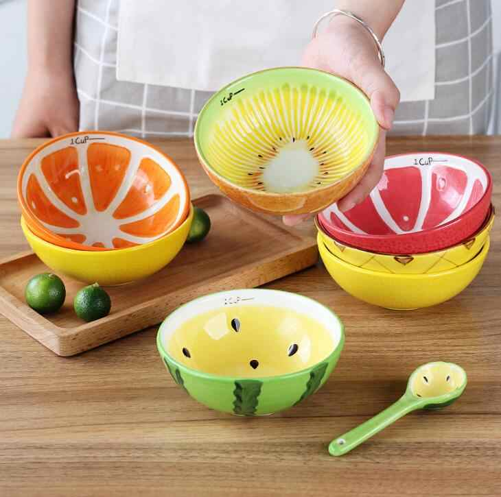 TECHOME 5 inch Ceramic Bowl Fruit Tableware Watermelon Apple Bowl Spoon Children Rice Dessert Snack Bowl Household Tableware