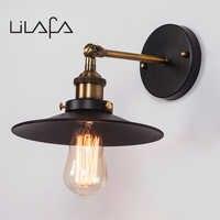 American Loft Industrial Wall Lamps Vintage Bedside Wall Lights Metal 22cm Lampshade E27 Edison Light Bulbs 110V/220V