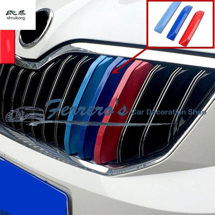 3 pcs/lot ABS 3 couleurs Avant De la Voiture Grille Réfléchissant Pour Skoda Octavia A7 2015-2017/Rapide 2013- 2017/Rapide Spaceback/YETI