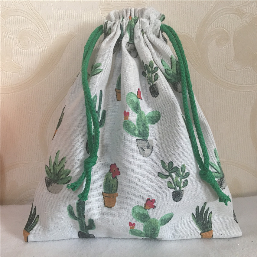 YILE 1pc Cotton Linen Drawstring Multi- Purpose Organizer Bag Green Flowering Cactus N8223 C S