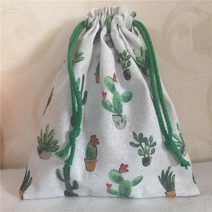 YILE 1pc Cotton Linen Drawstring Multi- Purpose Organizer Bag Green Flowering Cactus N8223 C S
