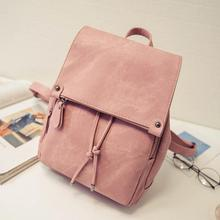 New PU Leather Waterproof Backpack Cute Solid Fashion Lightweight Backpack For Outdoor School Women