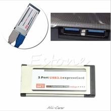 Новый 2 Порты и разъёмы USB 3,0 Express Card, ExpressCard 34 мм/54 мм скрытый адаптер для ноутбуков