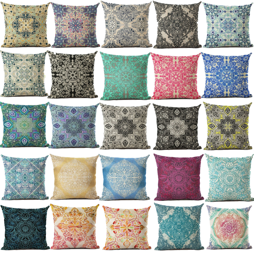 Cushion Cover Geomtric Pillowcase Bohemian Style Cotton Linen Euro Pillow Cover Printed Size 40 ...