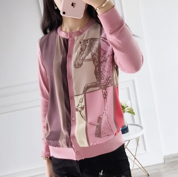 New   silk knit cardigan double stitching all-match primer coats early autumn