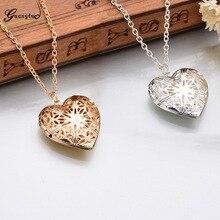 Charm Hollow Flower Heart Shape Pendant Necklace Women/Men Lovers's Jewelry Valentines Gift Romantic Fancy Photo Locket Collares