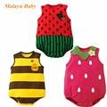 Malayu Baby brand 2017 summer new baby climbing clothes, cartoon strawberries, bees, watermelon triangular harness jumpsuit