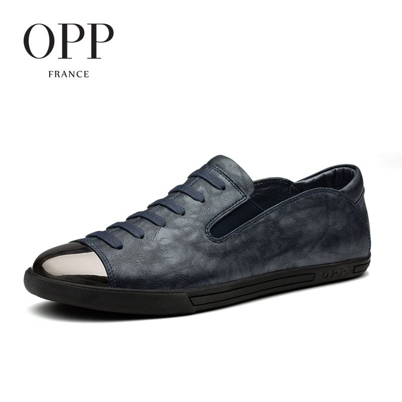 OPP 2017 Cow Leather Loafers Men footwears Summer Mens Shoes Loafers For Men Cow Leather Flats Shoes Casual Lace-Up Shoes
