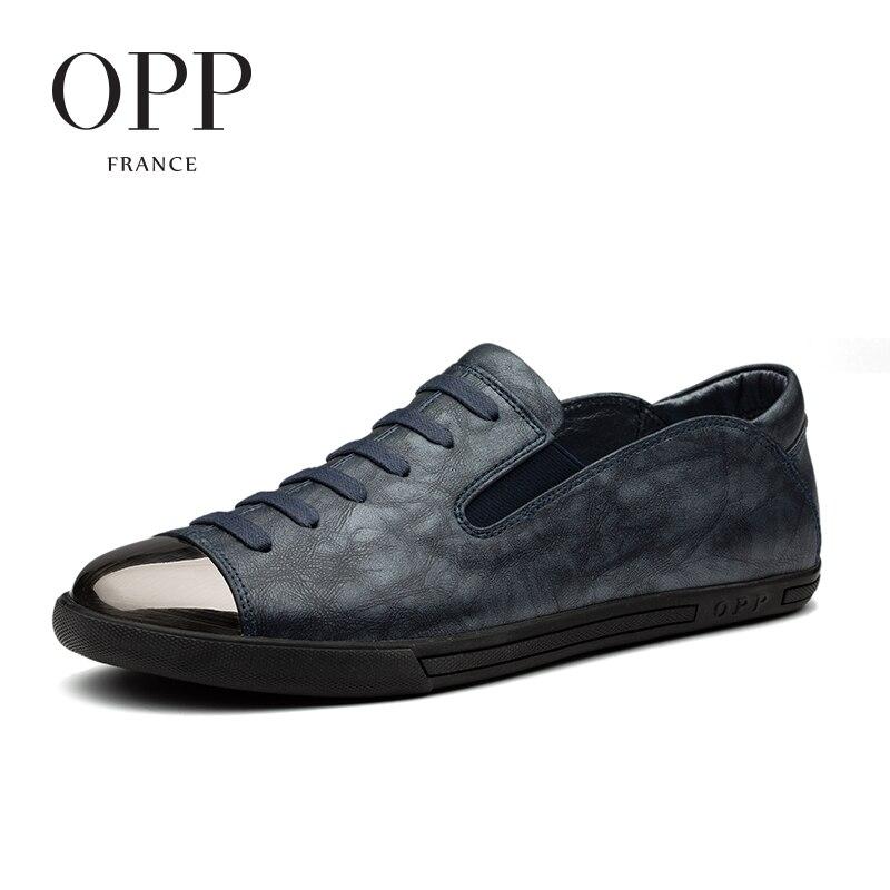 OPP 2017 Vache En Cuir Mocassins Hommes footwears D'été Mens Chaussures Mocassins Pour Hommes En Cuir de Vache Appartements Chaussures Casual Dentelle-Up Chaussures