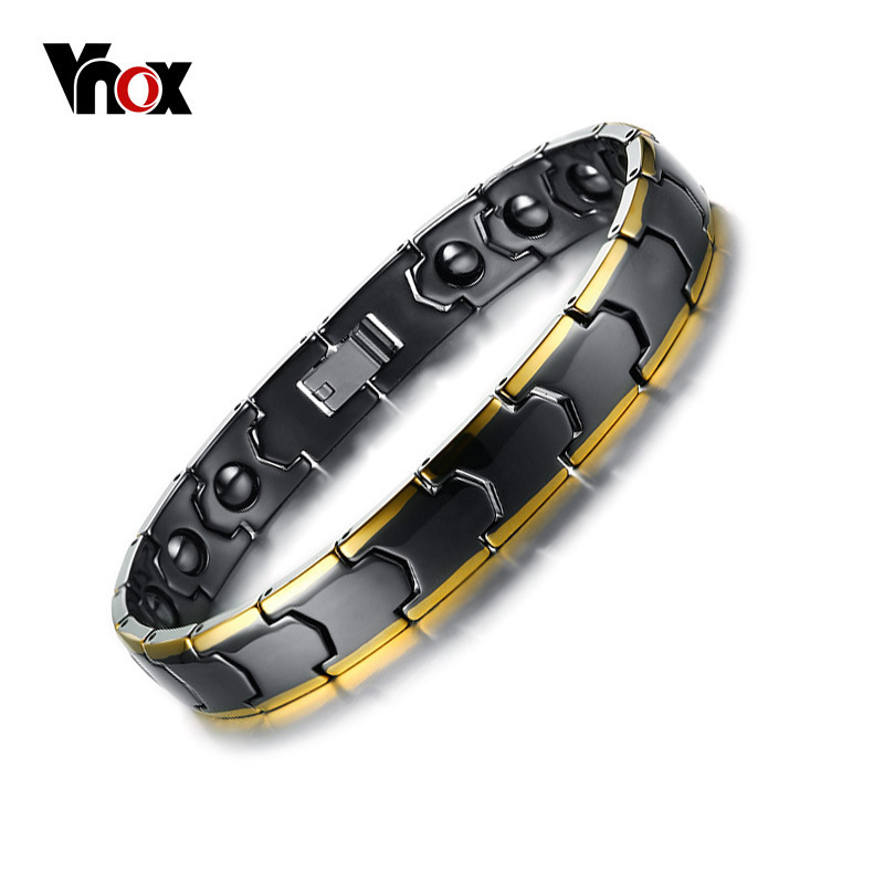 Vnox Mens Magnetic Hematite Therapy Bracelet Stylish Black Ceramic Link Chain Health Bracelets 21cm Male Jewelry trendy top white ceramic bracelet elegant star health care titanium bracelets