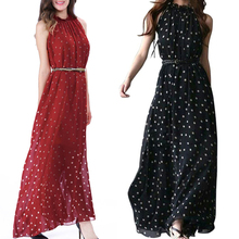 2019 beautiful Polka Dot Chiffon Dress Polka Dot Sleeveless Tank Dress Loose Large Long Skirt Stand Collar Wine Red One Size stylish sleeveless polka dot chiffon dress for women