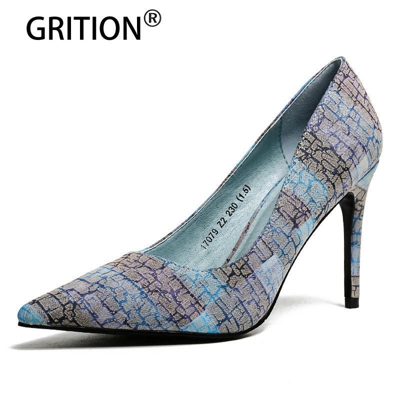 GRITOIN 2018 New Spring/Autumn Fashion High-heel Shoes Sexy Pointed Toe Thin Heels of 8cm Casual Shoes Lightweight Comfortable new 2016 spring autumn summer fashion casual flat with shoes breathable pointed toe solid high quality shoes plus size 36 40