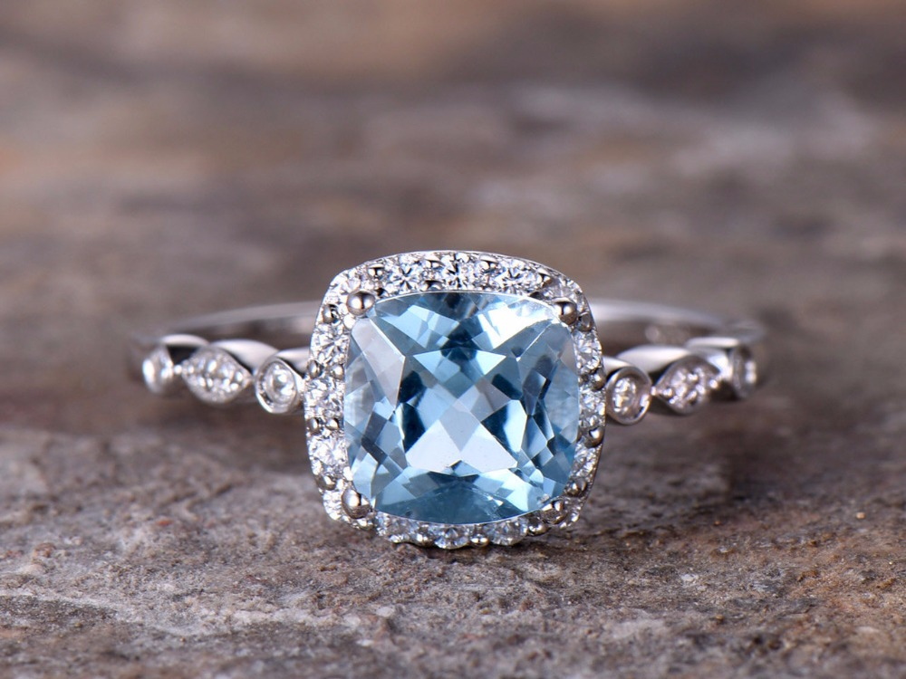 7mm Cushion Blue Topaz Engagement ring white gold plated 925 sterling silver stacking art deco wedding band Bridal ring Women серьги art silver art silver ar004dwzmh30