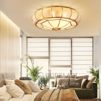 LED modern American copper Golden glass lampshade Ceiling Lights atmospheric home bedroom living room aisle LampsLED modern Amer фото