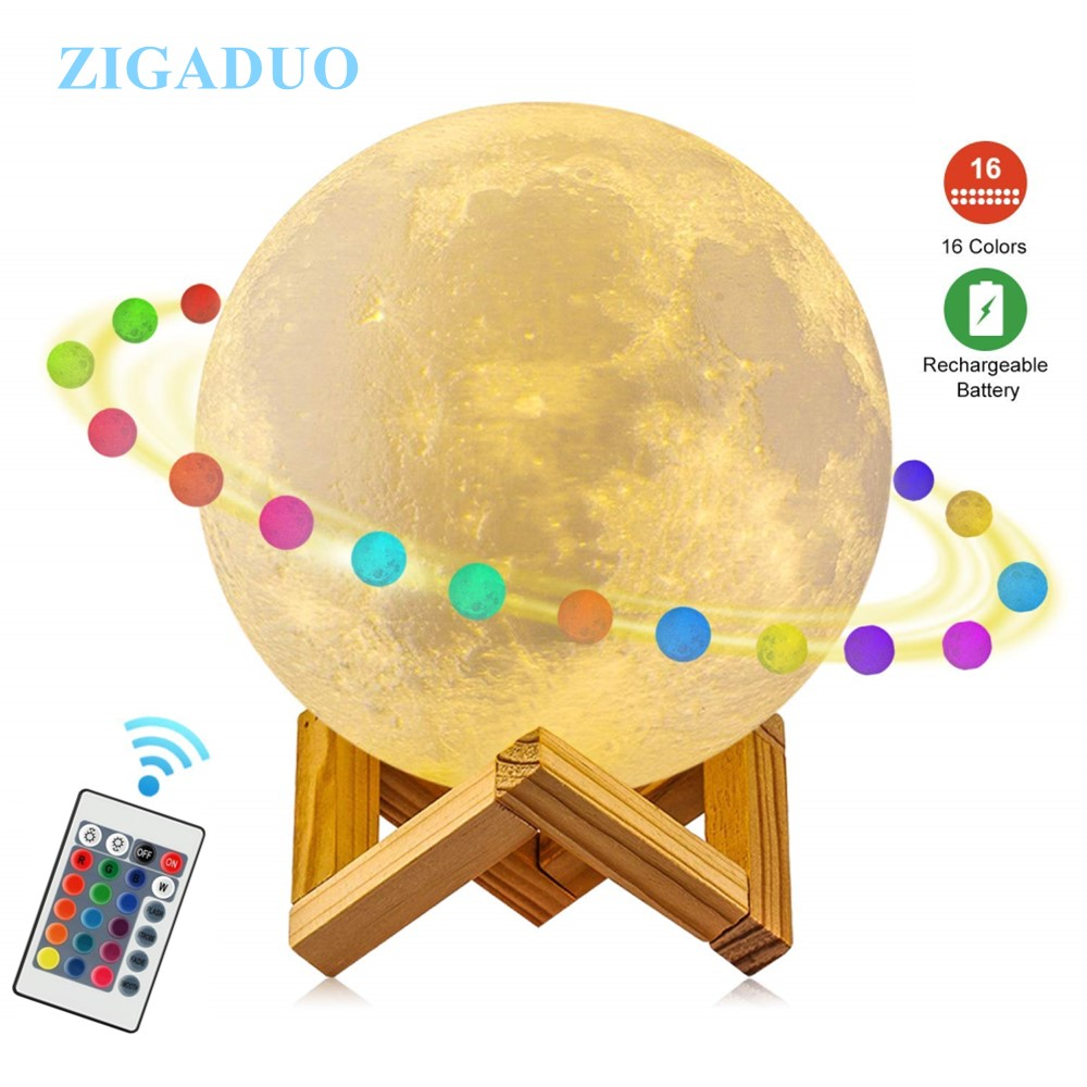 3D Print Moon Lamp Jupiter Lamp USB Rechargeable Touch/Remote Led Nightlight for Chlidren Kids Bedroom Night Lighting Home Decor jiaderui usb rechargeable battery neon lamp new year christmas wedding decor lamp flamingo cactus moon cloud led home nightlight